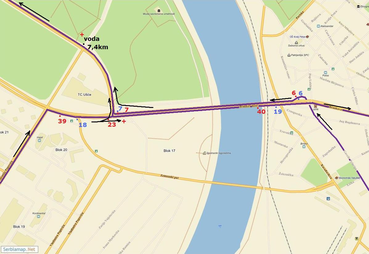 buvljak novi beograd mapa Detaljna trasa Beogradskog maratona buvljak novi beograd mapa